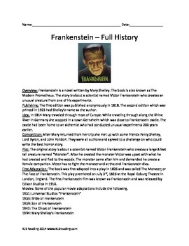 Frankenstein - Mary Shelly Book - History Book Facts Questions Activities Packet