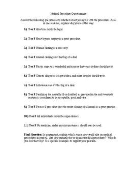 Frankenstein Medical Procedure Questionnaire