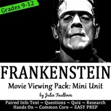 Frankenstein Movie Viewing Pack, Mini Unit, Distance Learning