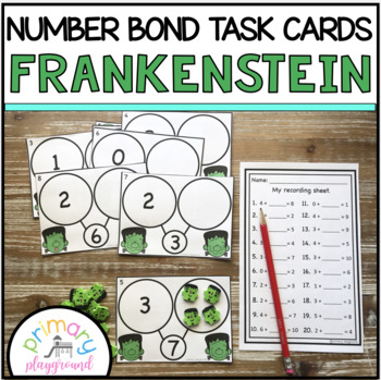 Frankenstein Number Bond Task Cards 1-10 Center