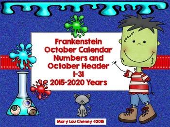 Frankenstein October Calendar Numbers