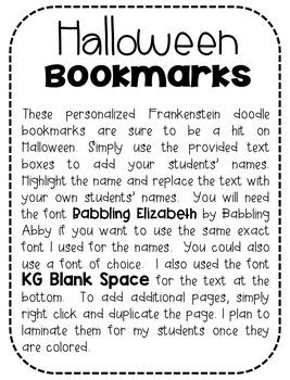 Frankenstein Personalized Doodle Bookmarks