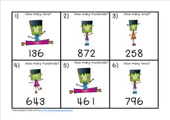 Frankenstein Place Value to 1,000 Task Cards