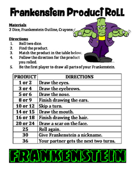 Frankenstein Product Roll - A 2-Player Multiplication Activity for Halloween