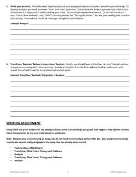 Frankenstein Letter IV - Promethean Traits Writing Workshop (Unit Lesson #6)