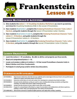 Frankenstein Letters I - IV and Promethean Character Analysis (Unit Lesson #5)