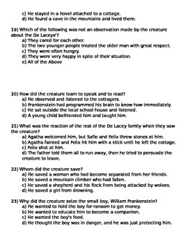 Frankenstein Questions and Answer Key