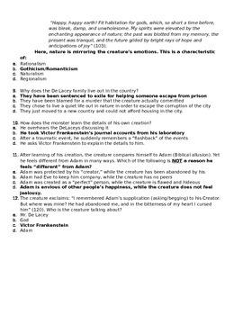 Frankenstein Quiz Chapters 11-15 (The Creature's Story)