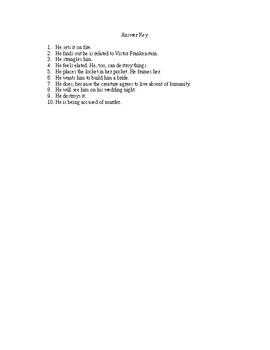Frankenstein Quiz Chapters 16-20