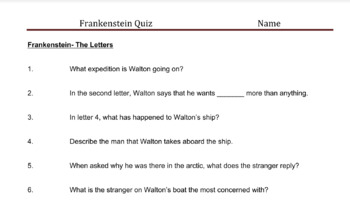 Frankenstein Quizzes by Chapter