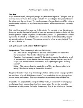 Frankenstein Quote Analysis, Dialectical Journal, Close Reading