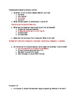Frankenstein Reading Check Quizzes