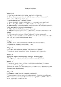 Frankenstein - Reading Discussion/Quiz