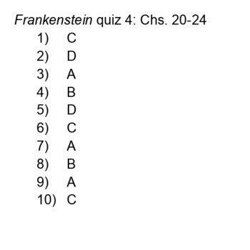 Frankenstein Quizzes (4 reading checks)