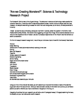 Frankenstein Research Project