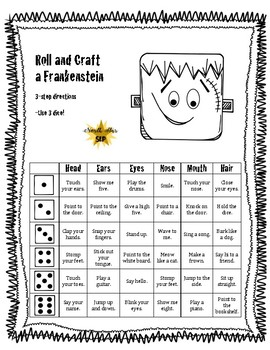 Frankenstein Roll and Craft: Following Directions and WH- Questions Bundle