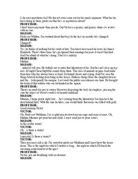 Frankenstein - Readers Theater Script Based on Classic Mary Shelley novel!