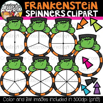 Frankenstein Spinners Clipart Bundle {Halloween Clipart}