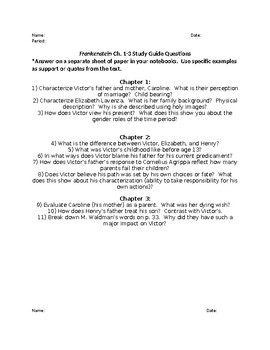Frankenstein study guide teaching resources teachers pay teachers frankenstein study guide questions chapters 1 24 fandeluxe Image collections