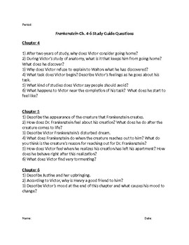Frankenstein Study Guide Questions Chapters 1-24