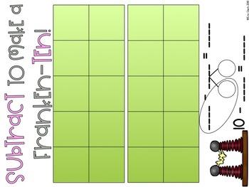 Frankenstein Make 10 to Subtract Math Center