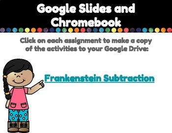 Frankenstein Subtraction-A Digital Math Center for Google Classroom