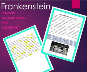 Frankenstein Summary Fill-In-The-Blank