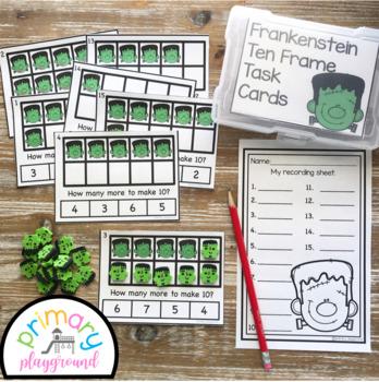 Frankenstein Ten Frame Task Cards Making Ten With  Frankenstein Friends Center