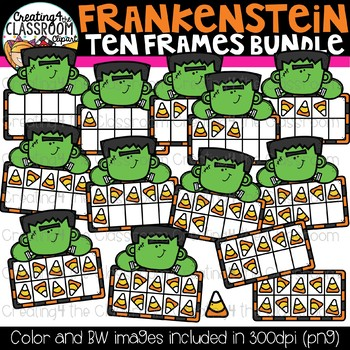 Frankenstein Ten Frames Clipart Bundle {Halloween Clipart}