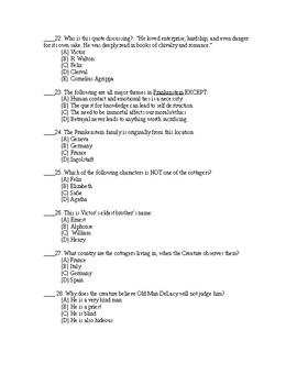 Frankenstein Test A + Answer Sheet + Answer Key