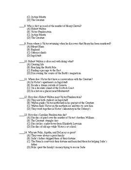 Frankenstein Test B + Answer Sheet + Answer Key