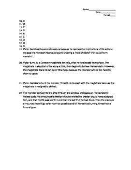 Frankenstein Test Chapters 17-24
