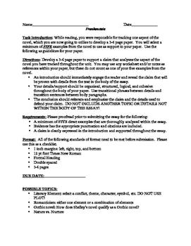 Frankenstein: Unit Assessment (Writing Assignment)