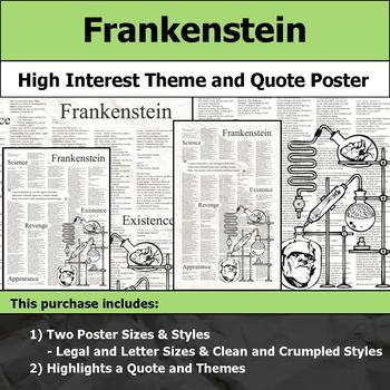 Frankenstein - Visual Theme and Quote Poster for Bulletin Boards