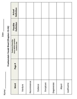 Frankenstein Vocabulary Sheet 13-16