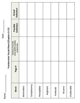 Frankenstein Vocabulary Sheet 9-12