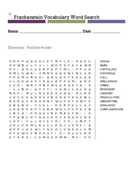 Frankenstein Vocabulary WORD SEARCH