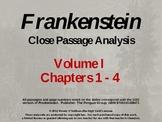 Frankenstein Volume I Chapters 1 - 4 Close Passage Analysi