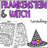 Frankenstein Witch Rounding to Tens and Hundreds Coloring