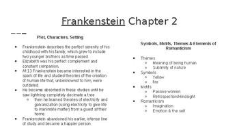 Frankenstein chapter notes