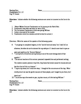 Frankenstein reading quiz Ch 1-12