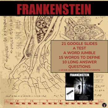 Frankenstein: vocabulary; essay Qs; fill in the blanks