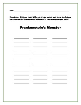 Frankenstein's Head: Halloween Art Activity