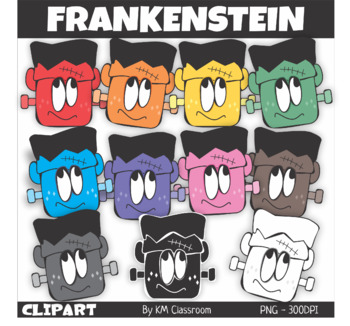 Frankensteins' Head Halloween Clip Art