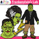Frankenstein Halloween Clip Art {Test Tube, Chemistry Bottle, Science Equipment}