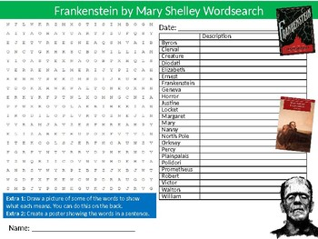 Frankenstein Wordsearch Puzzle Sheet Keywords English Literature Novel