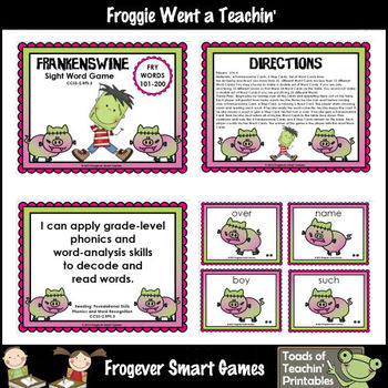 Frankenswine Sight Word Game (Second 100 Fry Words)