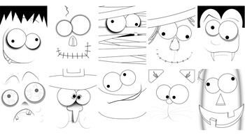 Frankie Faces Halloween Clip Art {The Teacher Stop}