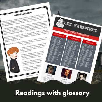 Frankie Le Vampire - French reading/sub activities