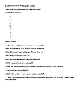 Franklin Autobiography Excerpt Comprehensive Questions